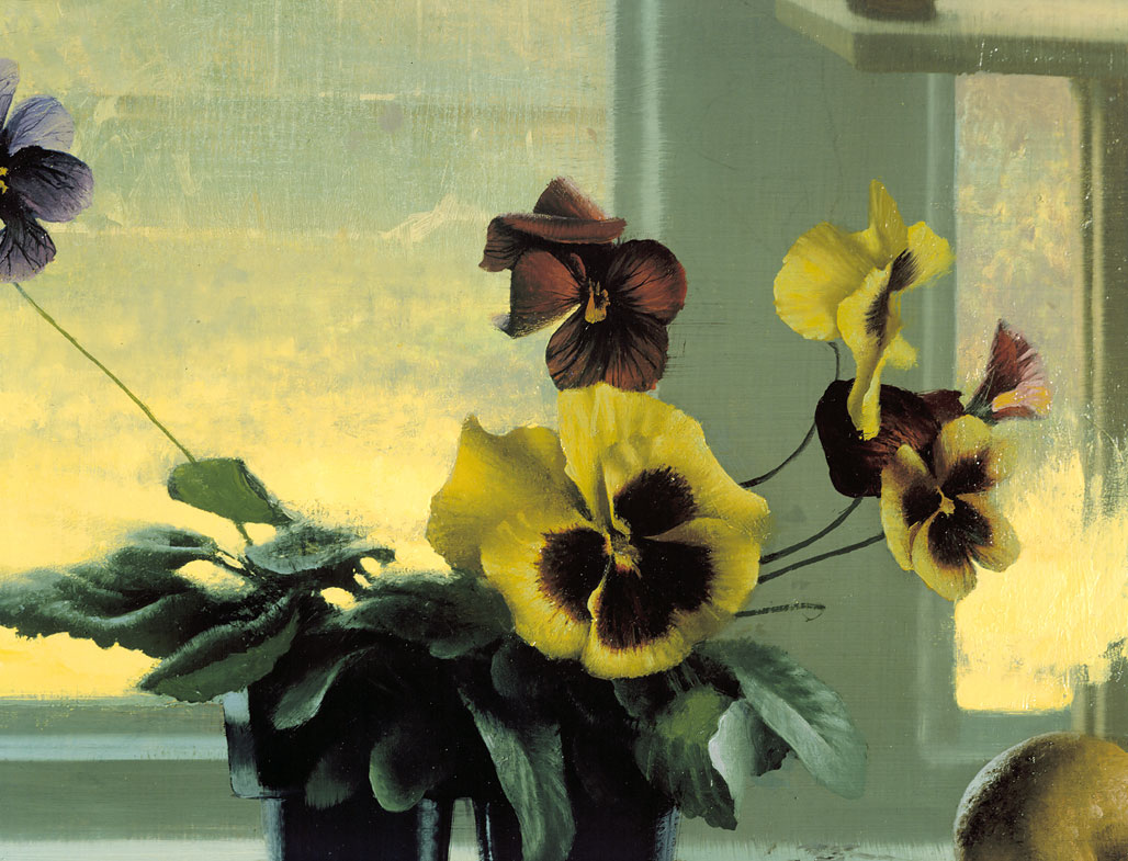 Landscape & Pansies (Detail)